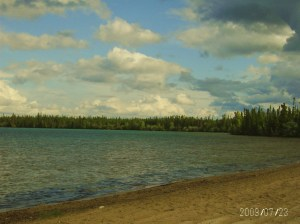 image of beach , lake and tree lined shores