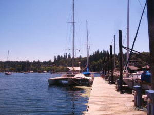 image of catamaran sailboat at dock on Lake