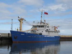image of the Namao tied up in the Gimli Harbour