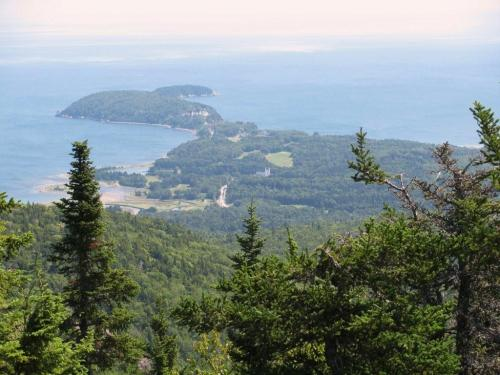 image of water in the distance and peninsula in Cape Breton