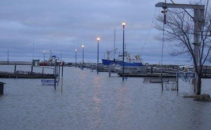 image of water covering docks in harbour
