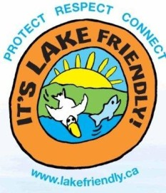 Image of Lake Friendly logo, pelican and fish jumping at lake