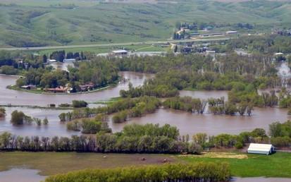 image of river overrunning its banks