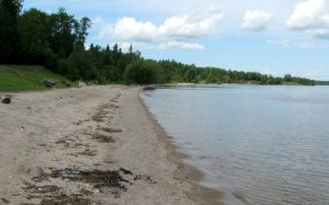 image of beach on lake