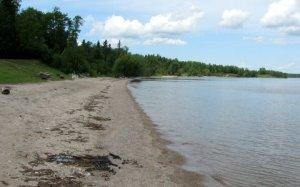 image of beach on lake