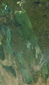image of Lake winnipeg taken from space