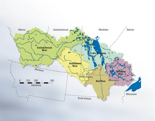map of the Lake Winnipeg watershed outlining the different rivr basins which ar part of it