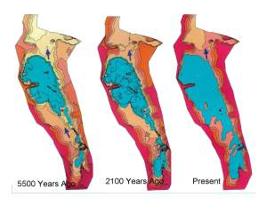 image of 3 maps of Lake Winnipeg showing the lake expanding over 5500 years