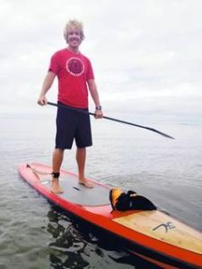 Jay Hawranik on his stand-up paddle board